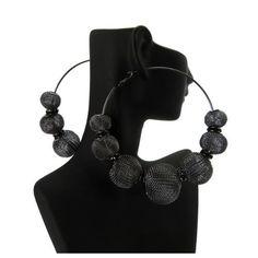 Basketball Wives POParazzi Inspired Mesh Ball Earrings BWE4HEBK Black