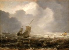 Jan Porcellis (1584-1632). Een pink op een winderige dag. Pinken werden gebruikt voor de visserij en transport van mensen. Het waren platbodems met vierkante zeilen met de grote mast in het midden van het schip en de fokkemast direkt achter de voorsteven en lange zwaarden.
