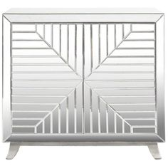 Worlds Away Aiden Faceted Mirror Cabinet With Silver Leaf Base