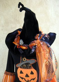 Halloween Witch Hat-  Orange and Black Ribbon Masterpiece