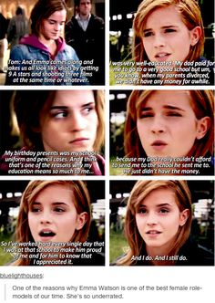 Emma Watson is amazing. And this is one of the many reasons why she was so well suited to be Hermione