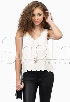 White Sleeveless V Neck Vest-SheIn