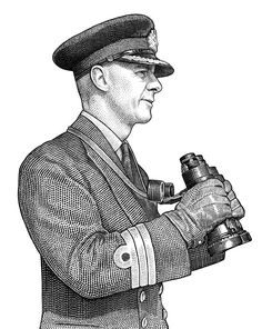 Stipple portrait of admiral Harry DeWolf by Ekaterina Shulzhenko