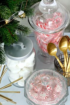 Hot Chocolate bar with peppermints marshmallows candy canes - This is our Bliss Christmas Mood, Holiday, Bar Cart Styling, Hot Cocoa Bar, Hot Chocolate Bars, Candy Canes, Marshmallows, Peppermint, This Is Us
