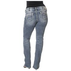 38ab1400 Womens Silver Jeans Super Low Rise Tuesday Ripped Baby Bootcut Plus 14 16  NWD #SilverJeans