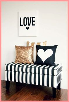 Stripe bench with decorative pillows serve as a good seating area.   #DecorbyMe  @ForRent.com