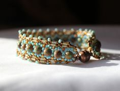 Hand beaded bracelet with Natural Turquoise 6mm beads by pjlacasse