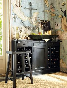 Nautical Decor Theme For Black Home Bar Design