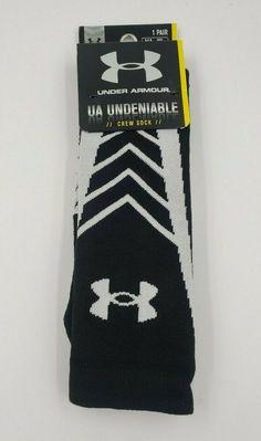 Under Armour Men/'s Crew Socks 3 Pack Medium 4-8.5 White UA Heatgear Training New