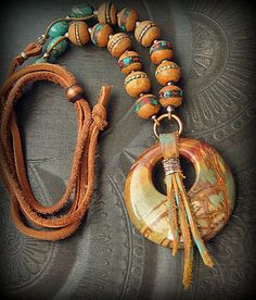 S.A.L.E.-Red Canyon Jasper and Wood-Coral-Turquoise Inlay Nepalese Beaded Necklace