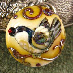 Lampwork Little Bird Focal Bead by Kerribeads