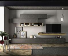 Slim ensemble mural TV  #contemporain #bois #laqué #zelip #design