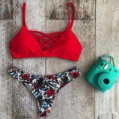 Bikini Set 2017 Bandage Women Swimwear Hollow Out Rope Bra Triangle Brazilian Bikinis Low Waist Print Sumer Beachwear Swimsuit