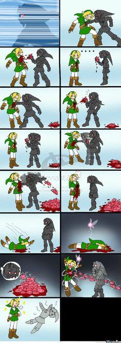 Pauvre Dark Link... Je crois que j'aurais été choqué aussi.