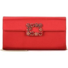 Roger Vivier Evening Evelope Flowers Satin Clutch ($1,870) ❤ liked on Polyvore featuring bags, handbags, clutches, roger vivie, red, holiday handbags, special occasion purses, red evening handbags, flower clutches and red evening purse