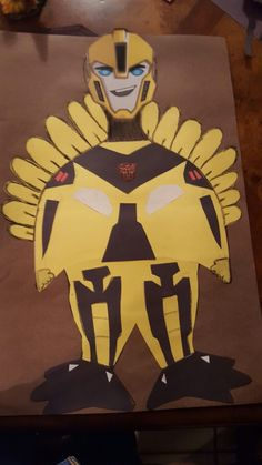 Turkey in disguise: Transformers Bumblebee Turkey in disguise: Transformers Bumblebee School Projects, Projects For Kids, Art Projects, Crafts For Kids, Turkey Disguise, Disguise Turkey Project, J Craft, Tom Turkey, Thanksgiving Projects