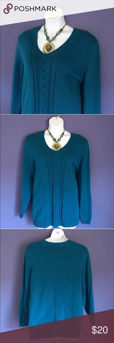 """Lane Bryant Teal Sweater Teal is such a beautiful color.   This sweater will keep you warm and look great at the same time.  Pair with jeans or black pants.  Necklace also available in my closet.  Size: 26/28. Material:  100% Cotton. Measurements:  Length - 28.5""""/Bust - 26"""" Lane Bryant Sweaters V-Necks"""