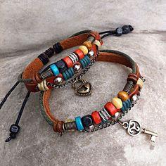 Handmade Leather Bracelets- Key To My Heart