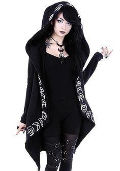 97ef3268228 Oversized Black Wicca Hoodie. Ninja Cosmico. Rosetic Hoodies Gothic Casual  Cool Chic Black Plus Size Women Sweatshirts Loose Cotton Hooded Plain ...