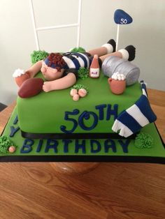 Friends Birthday Cake, Birthday Cakes For Men, 50th Birthday, Rugby Cake, Sports Themed Cakes, First Birthday Photography, Movie Cakes, Cake Decorating Icing, Fathers Day Cake