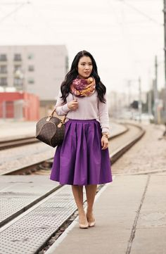 cute & little blog | floral scarf, pink sweater, chicwish full purple midi skirt, louis vuitton ellipse | spring colors outfit by kileenchen...