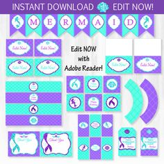 Mermaid Party Pack - INSTANTLY DOWNLOADABLE and EDITABLE File - Personalize at home with Adobe Reader!! Mermaid Party Supplies