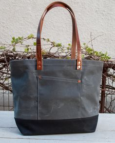 Waxed Canvas Market Tote Bag - FREE Standard Shipping in US - Grey/Black - Horween Leather Handles - Copper Rivets - Unisex - Made in USA on Etsy, $165.00
