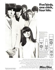 The Yardbirds did quite a few advertising campaigns in the mid 60s -- here they are in one of those from Dec 1966 Rave magazine. They were in the 1966 Michelangelo Antonioni film Blow Up in 1966 as well.