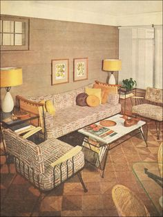 Our litmus test for good design is how relevant it remains 50 years later. This room might be described as a sun room, Florida room, or screened porch, but the mid century style here could easily be reproduced today by ferreting out a few good pieces of wicker and iron furniture, an appropriate retro upholstery fabric, accesories, and sisal rug.