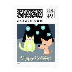 Dog & Cat with Christmas Tree Postage