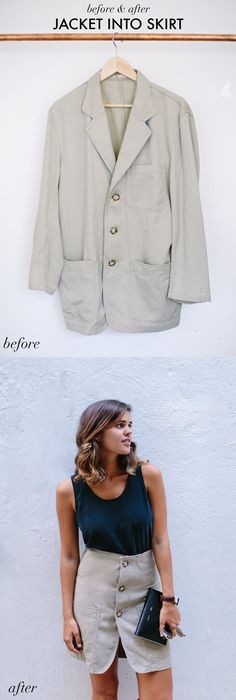 Turn a Jacket Into a Skirt  This blazer refashion tutorial is super simple and makes a really cute button front skirt #refashioning