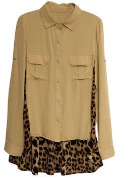 "Asymmetric ""Leopard"" Khaki Shirt  $49.99 #shirt #clothing #top"