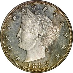 U.S. Liberty Head beautiful five Cents - 1888 5C PF Minted 1883 - 1913 I got a whole cache of these as a kid when my mother got a chance to look through someones old change jar for face-value exchange !