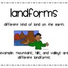 $1.50 This product includes posters that I've made to explain major types of landforms and bodies of water.Posters include:MountainHillPlainValley...