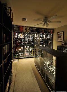 Gunpla Display Cabinet 3 - With a Vengeance Comic Book Rooms, Comic Room, Nerd Room, Gamer Room, Nerd Cave, Lego Display, Display Shelves, Display Ideas, Home Room Design