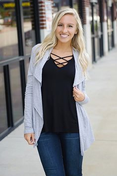 Layer up this season with this cascading front cardi! Loving the versatility & the ease you can wear it! Perfect for any outfit!