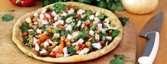 """""""Pizzas How You Like Them"""" - Great Healthy Pizza recipes from Forks over Knives. Include: Mexican, Thai, Veggie and Greek pizza recipes Vegan Pizza Recipe, Healthy Pizza Recipes, Veggie Recipes, Whole Food Recipes, Vegetarian Recipes, Cooking Recipes, Dinner Recipes, Vegetarian Pizza, Vegan Bread"""