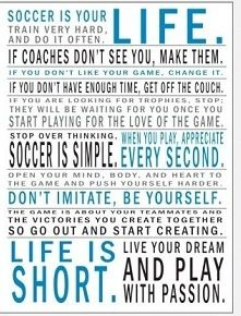 Wow - I am not sure I ever realized how many of my life's lessons were learned on a soccer field
