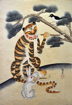 """Saatchi Art is pleased to offer the Art Print, """"Folk tales Korean Tiger Water Color painting Original signed,"""" by jeremy Yong. Archival inks on N/A. Size is undefined H x undefined W in. Japanese Tattoo Art, Japanese Art, Traditional Japanese, Korean Art, Asian Art, Asian Tigers, Watercolor Paintings, Original Paintings, Original Art"""