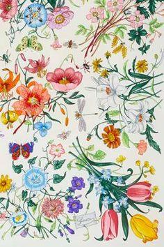 Vintage Gucci floral pattern designed for Princess Grace Kelly in 1966 Pattern Floral, Motif Floral, Pattern Art, Flora Pattern, Textures Patterns, Print Patterns, Stoff Design, Gucci Floral, Flora Gucci