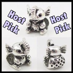 Adorable Little Elephant Charm Super cute silver toned zinc alloy elephant charm. This will fit Pandora. Just as cute if not cuter than an authentic Pandora charm. Much cheaper alternative! This is my favorite charm! New without tag. Jewelry