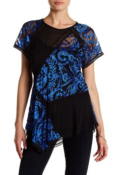 Patchwork Lace Asymmetrical Blouse by Karen Kane on @nordstrom_rack