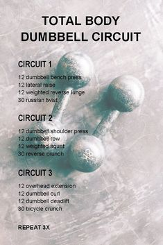 Total Body Dumbbell Circuit This is a dumbbell circuit workout to challenge both your cardiovascular system and your muscles. Strength and cardio covered in one workout. Fitness Workouts, Tabata Workouts, At Home Workouts, Fitness Tips, Home Circuit Workout, Hiit Workouts With Weights, Workout Plans, Circuit Training Workouts, Fitness Planner