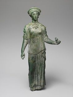 Bronze statuette of a female votary, late Classical or Hellenistic, 4th-3rd century BC, Etruscan, Bronze