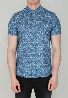 Ted Baker Men's Tropic Print Shirt, Blue Get The Look, Printed Shirts, Ted Baker, Men Casual, Tropical, Mens Tops, Cotton, Blue, Outfits