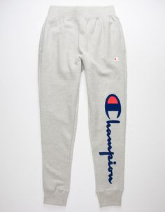 """Soft sweatpants feature """"C"""" and Champion script logo on left side. Patch pocket on back right. Ribbed knit elastic waistline and cuffs. Fleece-lined. Casual School Outfits, Cute Lazy Outfits, Cute Swag Outfits, Sporty Outfits, Teen Fashion Outfits, Outfits For Teens, Sporty Fashion, Mod Fashion, Sporty Chic"""