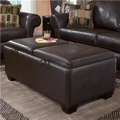 """Durahide Bicast - Brown Storage Ottoman with Reversible Tray Tops by Ashley Furniture; 48""""W"""