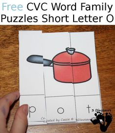 Free CVC Word Family Puzzles Short O: -og, -op, -ot - 3Dinosaurs.com