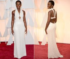 Lupita Nyong'o Pearl Dress Oscar 2015 Nyong'o's striking Calvin Klein Collection gown featured pearl detailing with a halter neck and dramatic scooped back. According to reports from the red carpet, there were 6,000 pearls on the dress.