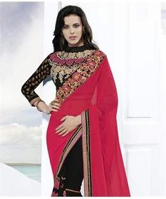 Faux Georgette Saree with Blouse | I found an amazing deal at fashionandyou.com and I bet you'll love it too. Check it out!